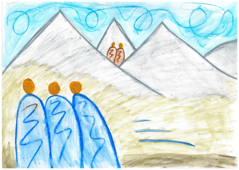 Selbstgemaltes Bild aus der biblischen Geschichte von der Eroberung Jerichos