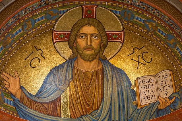 Bild eines Mosaics von Jesus Christus auf dem er sagt, dass er der Weg, die Wahrheit und das Leben ist.